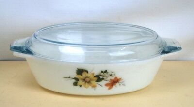 Oval Casserole By Pyrex In Autumn Glory Design Complete With Lid,