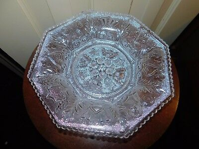 ANTIQUE BOSTON SANDWICH LACY FLINT PRESSED BEEHIVE AND THISTLE octagonal dish