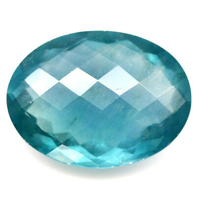 22.19 Ct Natural! Blue Fluorite Oval Facet With Checkerboard Table China Delight