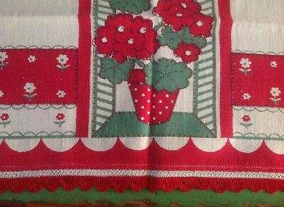 Vintage Tea Towel, NOS, Red Geraniums, Polka Dot Flower Pots, Red Crochet Trim