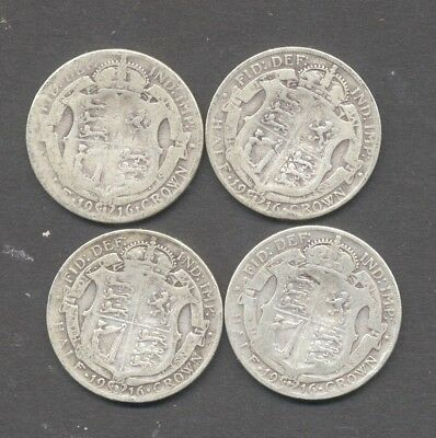 GREAT BRITAIN , GEORGE V , pre 1920 , .925 SILVER , 1916 HALF CROWN x 4 .