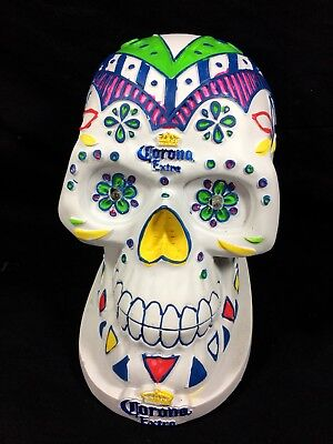 Corona Extra Beer Day Of The Dead Skull Back Bar Statue LED (Blue) Light Tiki
