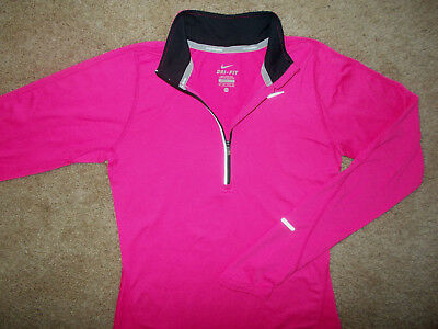 Nike Element Dri-Fit 1/2 Zip Long Sleeve Pink Running Top Womens Xs Excellent