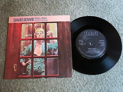 DAVID BOWIE rebel rebel Ireland RCA 7-inch Lifetimes Solid centre BOW 514!