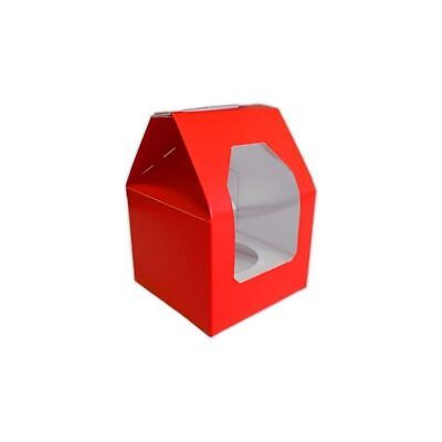 Christmas Red Single Cupcake box & insert with window 12 pack