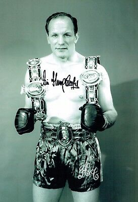 Sir Henry COOPER SIGNED Belts Portrait 12x8 Photo AFTAL COA Boxing Champion