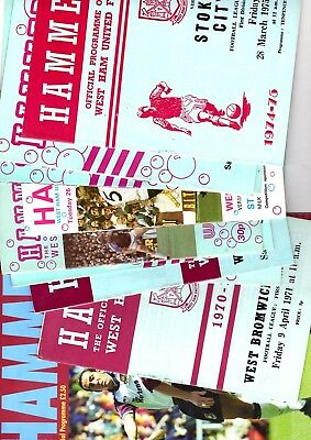 10 x West Ham United Home Programmes in the 1st division 1971 - 1999 Listed 74