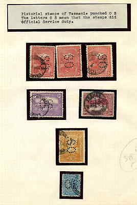 TASMANIA PERFIN OFFICIALS COLLECTION LOT ON PICTORIALS $$$$$$$ 99c NO RESERVE