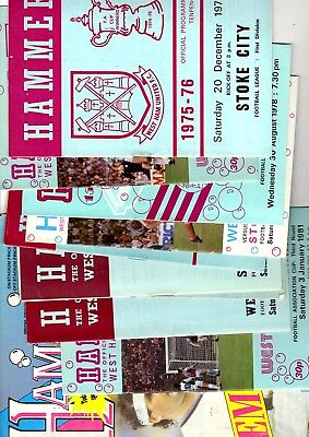 10 x West Ham United Home Programmes in the 1st division 1969 - 1989 Listed 75