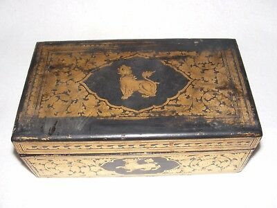 Antique Chinese Lidded Box Gold Decoration Ebonized Lacquer Japanned Dragons