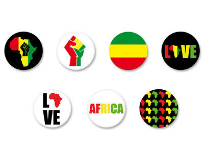 Lot Badge Button Pins Patch Ø38mm Power Africa Afrique African Reggae Rasta