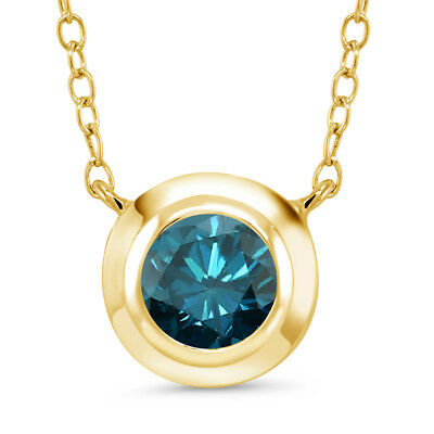 0.80 Ct Round Blue Diamond 18K Yellow Gold Plated Silver Pendant With Chain