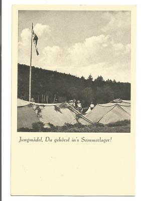 """German postcard pre-WW2; Youth; """"Girls, You should be in our Summer Camp!""""; S8"""
