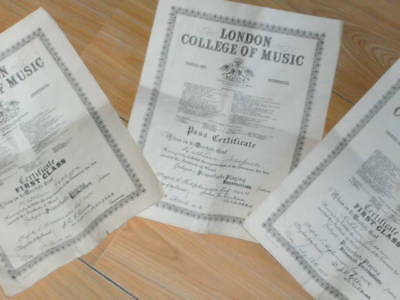 3 x VINTAGE LONDON ROYAL COLLEGE OF MUSIC PIANAFORTE CERTIFICATES 1951/53/54