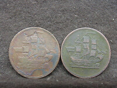 """two Canadian Colonial Half-Cent Token """"Ships, Colonies & Commerce"""