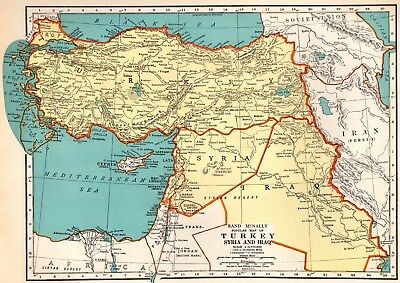 1937 Vintage MAP of TURKEY Syria IRAQ Map Gallery Wall Art Middle East Map 4170