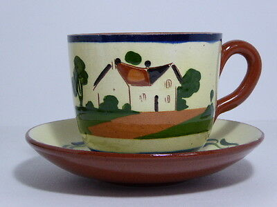 Watcombe Pottery Motto Ware Breakfast Tea Cup & Saucer Say Little But Think Much