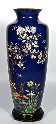 Large Antique Fine Silver Wire Japanese  Cloisonne Vase W/ Song Birds