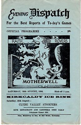 Raith Rovers v Motherwell Scottish League Cup 18th August 1956
