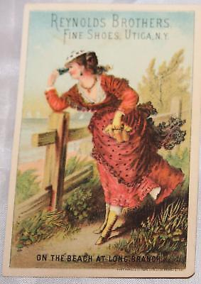 Antique Victorian Trade Card Advertising Shoes Utica NY and Leavenworth Kansas