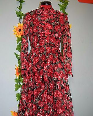cute vintage 80s  net flower print dress