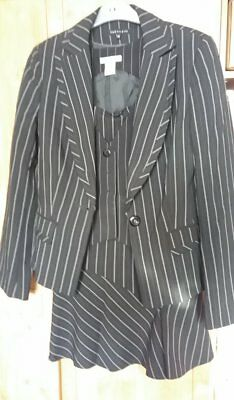 Ladies Designer Pin Striped work suit, Jacket, waistcoat and Skirt size 12