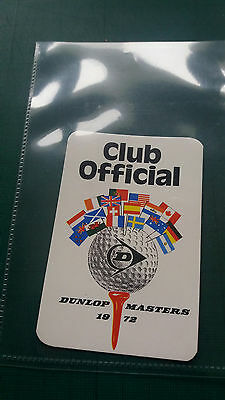 Dunlop Masters 1972 - Club Official Pass - 1st season of European Tour