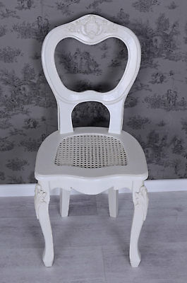 Vintage Chair White Wooden Chair Rococo Dining Room Chair Shabby Chic