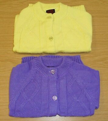 2  x VINTAGE 1970's UNWORN GIRLS KNITTED YELLOW & LILAC CARDIGANS AGE 5 YEARS
