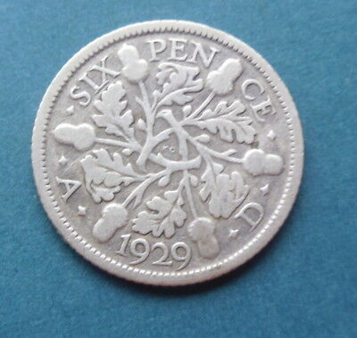 George V 1929 Silver Sixpence Coin