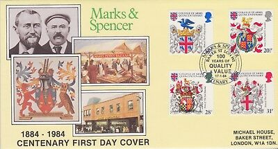 Gb Stamp First Day Cover 1984 Heraldry Marks & Spencer Official Rares Collection