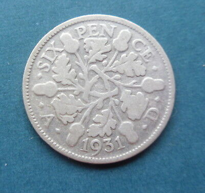 George V 1931 Silver Sixpence Coin