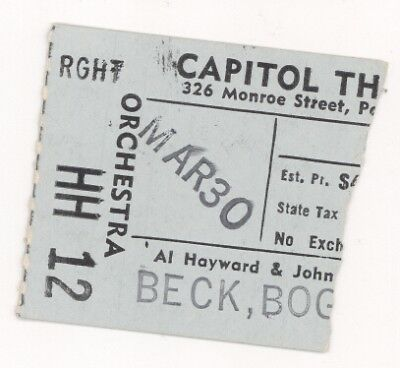 Beck Bogart & Appice and Wet Willie 3/30/73 Capitol Theatre Ticket Stub! Jeff