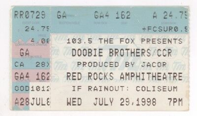 Doobie Brothers & Creedence Clearwater Revival 7/29/98 Red Rocks Ticket Stub CCR