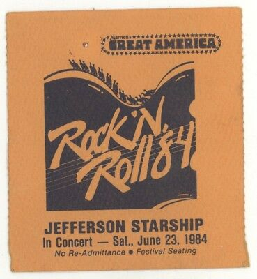 Jefferson Starship 6/23/84 San Jose CA Great America Ticket Stub! Airplane