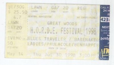 Blues Traveler Barenaked Ladies Ben Harper 7/30/98 Boston Concert Ticket Stub!