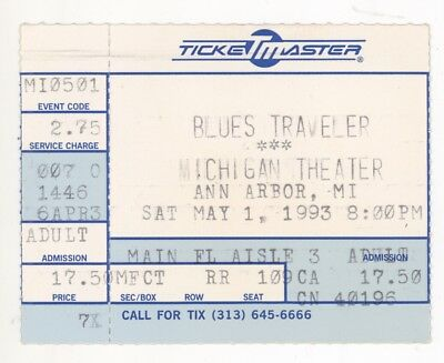 RARE Blues Traveler 5/1/93 Ann Arbor MI Concert Ticket Stub!