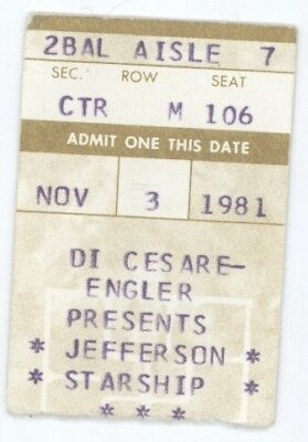 Jefferson Starship 11/3/81 Pittsburgh Stanley Thtr Concert Ticket Stub! Airplane