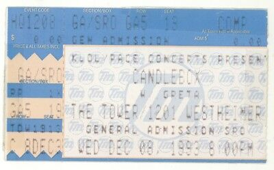 RARE Candlebox 12/8/93 Houston TX Tower Theater Concert Ticket Stub!
