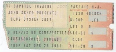 BLUE OYSTER CULT & THE RINGS 12/26/81 Capital Theatre Concert Ticket Stub! BOC