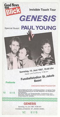 GENESIS PAUL YOUNG 6/13/87 Basel Switzerland GIANT DELUXE Concert Ticket Stub!