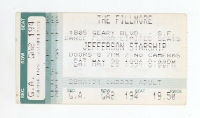Jefferson Starship 5/28/94 San Francisco Fillmore Concert Ticket Stub! Airplane