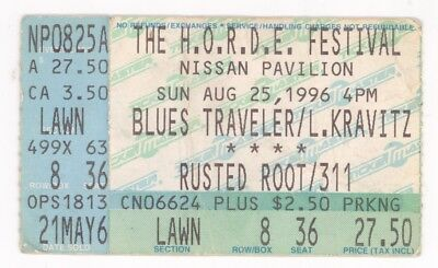 Blues Traveler Lenny Kravitz Rusted Root 8/25/96 Bristow VA Concert Ticket Stub!