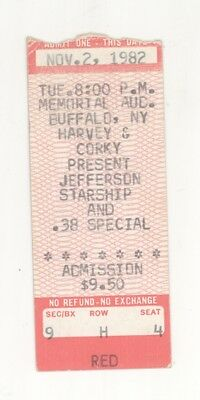 Jefferson Starship .38 Special 11/2/82 Buffalo NY The Aud Ticket Stub! Airplane
