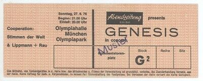Rare GENESIS 6/27/76 Munich Germany UNUSED Concert Ticket!