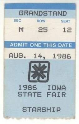 RARE Jefferson Starship 8/14/86 Des Moines Iowa State Fair Concert Ticket Stub!
