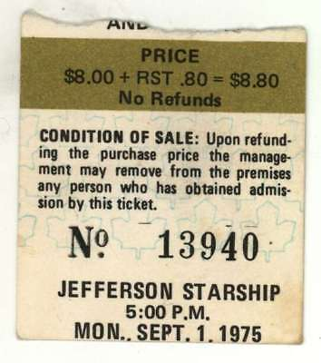 Jefferson Starship 9/1/75 Toronto Ontario Maple Leaf Gdns Ticket Stub! Airplane