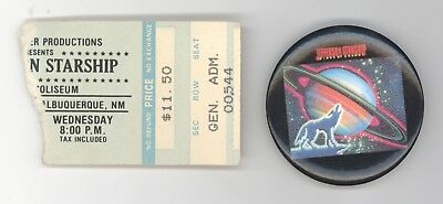 Jefferson Starship 11/24/82 NM Ticket Stub + Winds of Change Button! Airplane