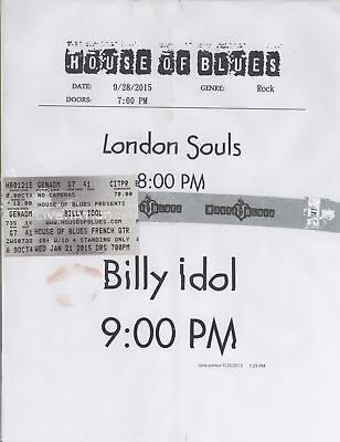 BILLY IDOL 9/28/15 New Orleans Concert Ticket Stub & NO House of Blues Sign!