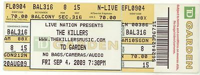 Rare THE KILLERS & WOLFMOTHER 9/4/09 Boston MA TD Garden Concert Ticket!